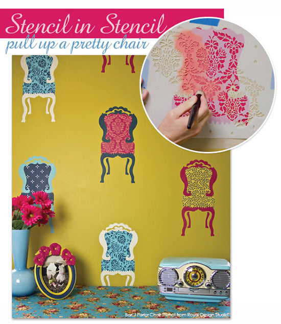 Super cute and spiffed up Parlor Chair stencils make an adorable wall stencil project. Stencil small allover patterns in the chair cushions for a custom look-from Royal Design Studio
