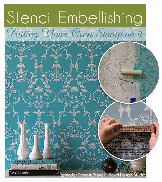 Stencil with pattern on pattern using the Splendor Damask wall stencil by Bari J for Royal Design Studio. Fun and easy stamp technique is a great way to dress up your stencils!