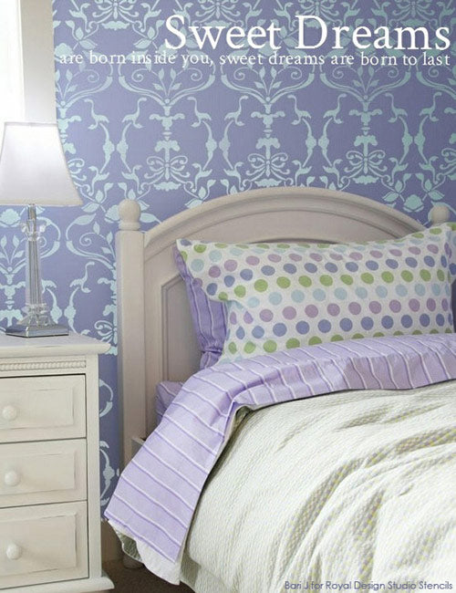 Allover Damask Wall Stencil