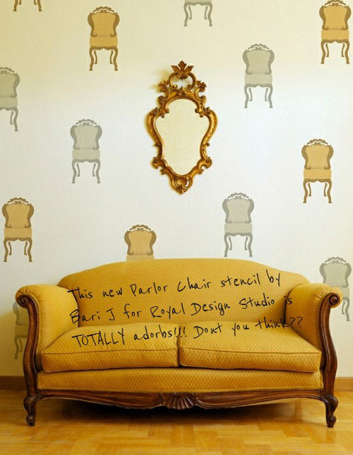 Wall Art Stencil-Parlor Chair by Bari J