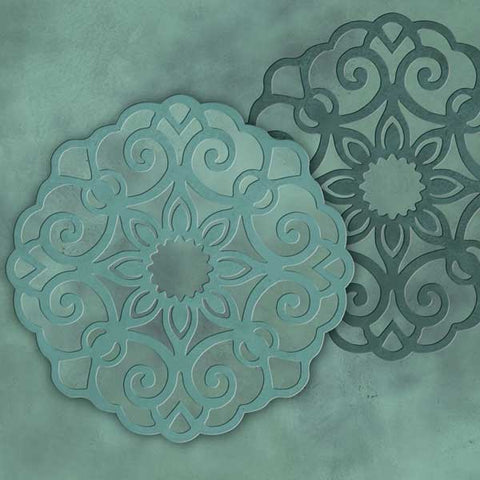 Ornamental medallion stencil in green