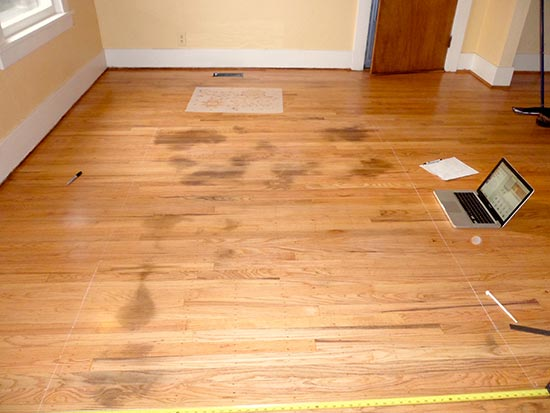 Wood Floor with Stains - Painting and Stencil to the Rescue! | Royal Design Studio