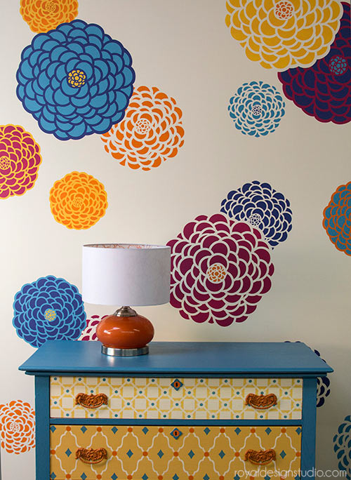 Great stencil project and stencil how-to using Royal Design Studio stencils by fabric designer Bonnie Christine