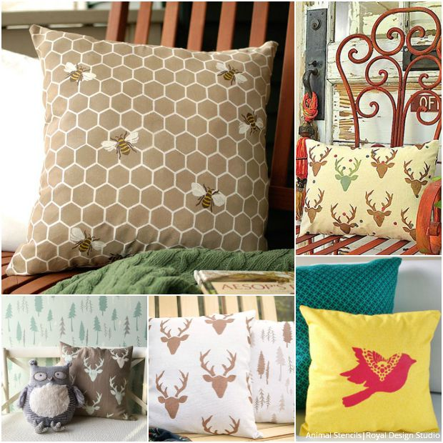 Stenciled Pillows for Every Style - Modern & Rustic Animal Fabric Stencils by Royal Design Studio