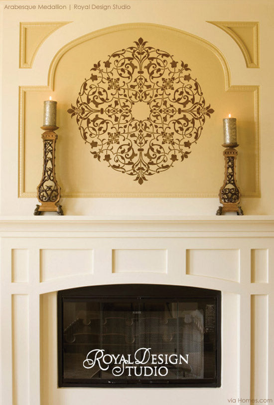 Make your mantle a focal point with medallion stencil patterns