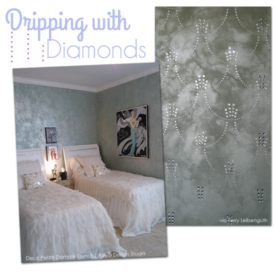 Art Deco wall stencil with rhinestones added. So pretty on gray metallic walls!