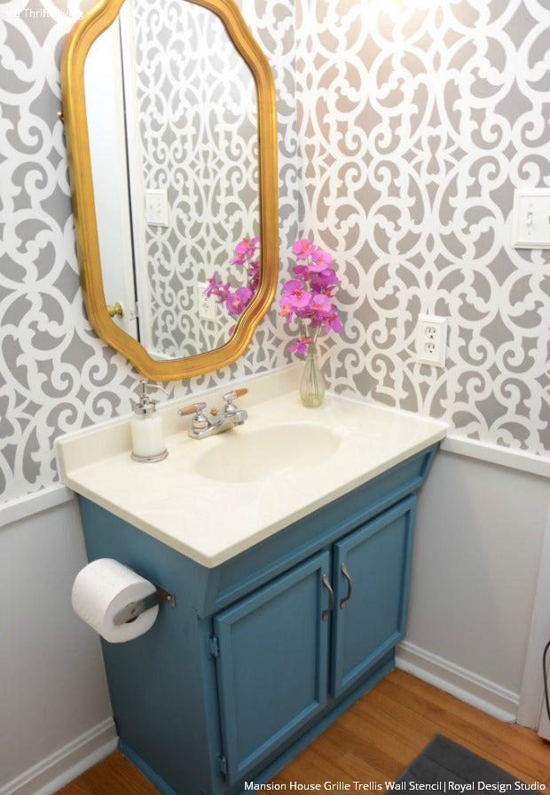 How To Makeover Your Bathroom with Modern Trellis Wall Stencils from Royal Design Studio