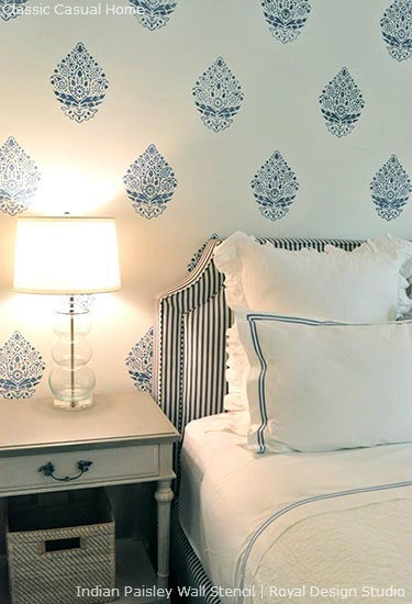 Stenciling a Feature Wall in a Guest Bedroom | Royal Design Studio Stencils | Project by Classic Casual Home