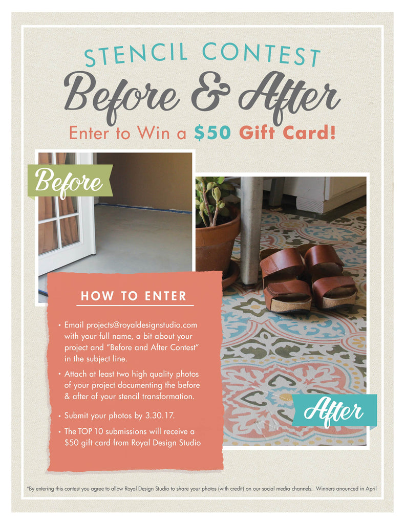 Before & After Contest: Submit your before & after pics of your stencil projects for the chance to win a $50 stencil shopping spree!