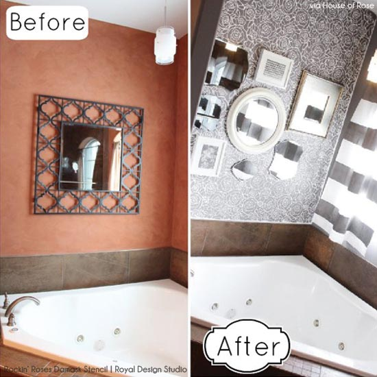 Using Stencils to Create a Contemporary Bath | Rockin' Roses Damask Stencil by Royal Design Studio