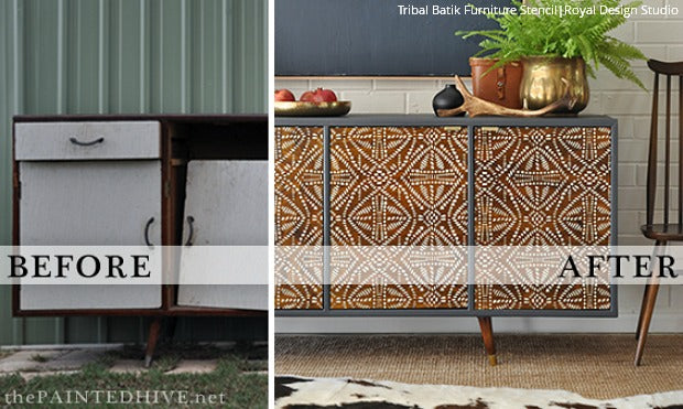 Global Chic Stenciling: DIY Tribal Furniture Transformation using Royal Design Studio Tribal Batik Furniture Stencils
