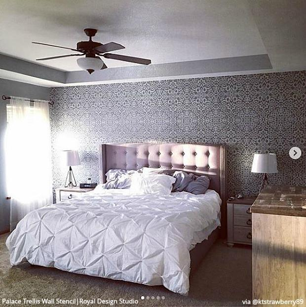 25 Luxurious Bedroom Feature Wall Stencils - DIY Painted ...