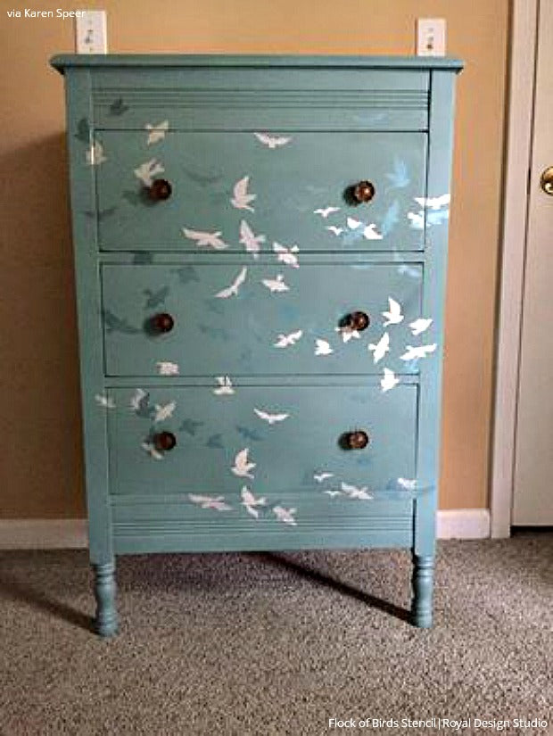 DIY Decor Ideas Painting Wall Stencils on Painted Furniture