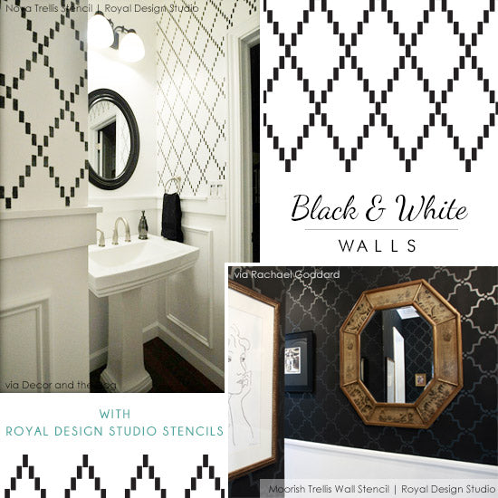 Black and white wall stencil ideas | Royal Design Studio