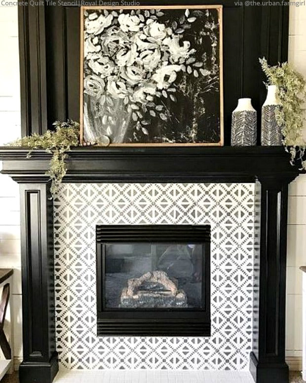 Sizzling Stencil Style Paint Your Fireplace Tiles Royal Design