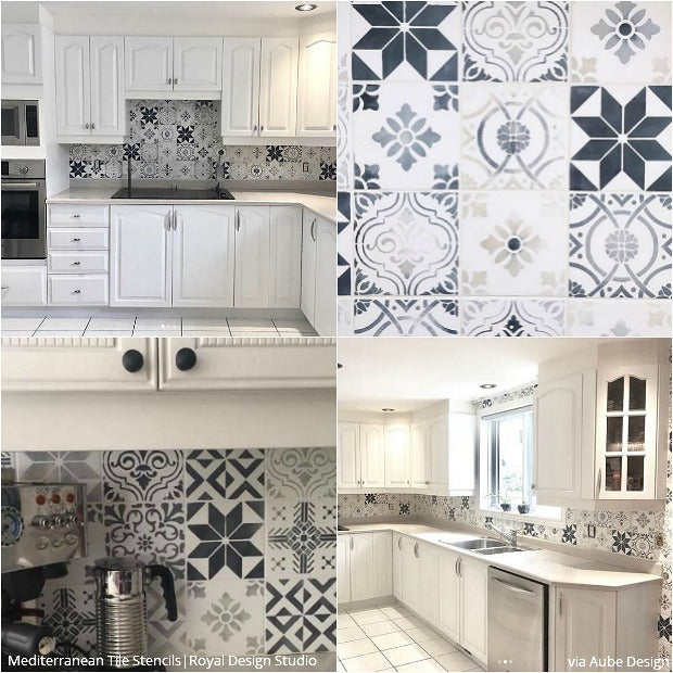 12 stunning ideas for painting a diy kitchen backsplash design with wall stencils royal design - Diy Kitchen Backsplash