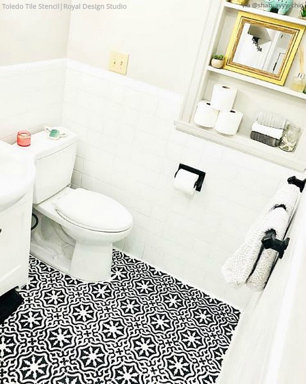 14 Reasons Floor Stencils are Better Than Bathroom Tiles - DIY Decorating Ideas for Tiled Flooring and an Affordable Bathroom Makeover - Royal Design Studio Floor Tile Stencils