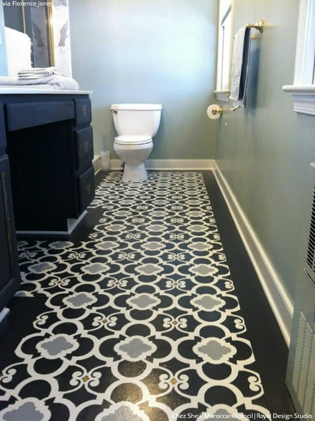 10 stenciled floor makeovers diy decor ideas using floor for Black linoleum flooring