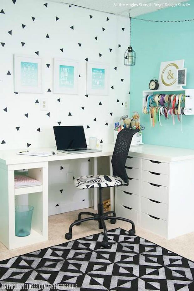 Pretty Productive Go Getter Home Offices With Wall Stencils Royal Design Studio Stencils