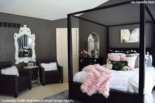 Bedroom Wall Stencil Designs Diy Decorating To Sleep In Style
