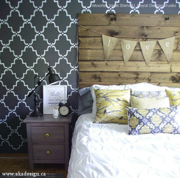 Hottest Trend in Home Decor: 9 DIY Ideas for Glam Black Painted & Stenciled Walls from Royal Design Studio