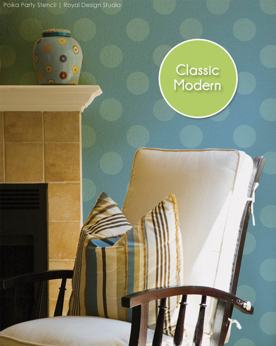 Modern polka dot pattern stencil for walls. Polka Party stencil from Royal Design Studio