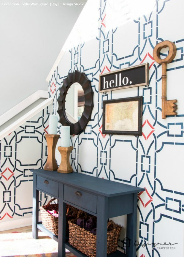 Modern Foyer Decorating Idea with Wall Stencils - Royal Design Studio