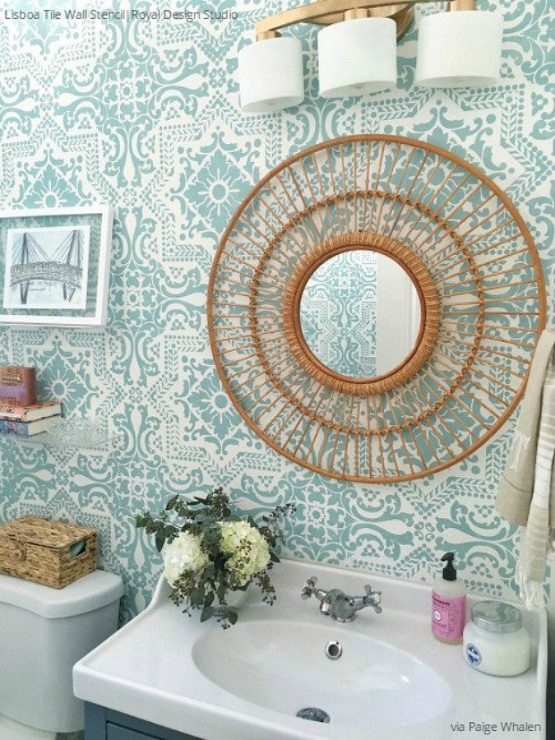 Wall Stencils The Secret To Remodeling Your Bathroom On A Budget Royal Design Studio Stencils