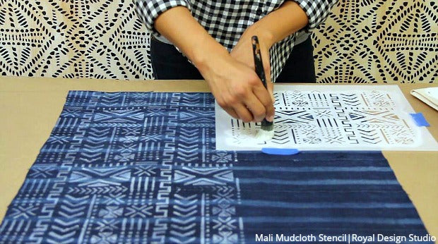 [VIDEO] How to Paint Fabric & DIY Pillows with Bohemian Stencils - Craft Stenciling Tutorial from Royal Design Studio