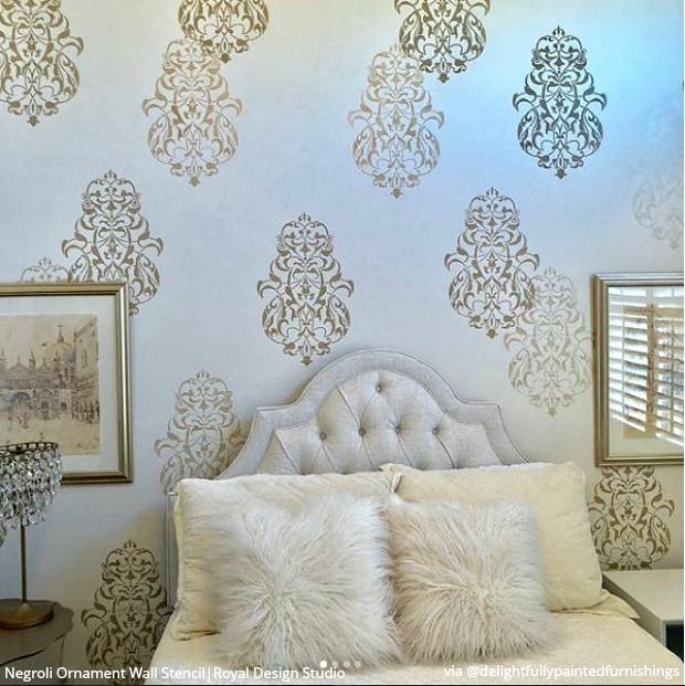 25 Luxurious Ways to Accent a Bedroom Wall - Bedroom Stencils, Large Wall Stencils for Painting Feature Wall Art, DIY Decor Ideas - royaldesignstudio.com