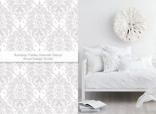 White on white decorating with the Bombay Paisley stencil from Royal Design Studio