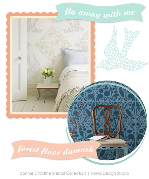 Beautiful new bird and floral damask walls stencils by Bonnie Christine for Royal Design Studio