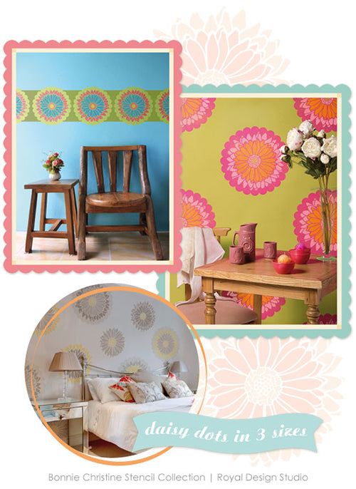 Daisy Flower wall art stencils by Bonnie Christine for Royal Design Studio