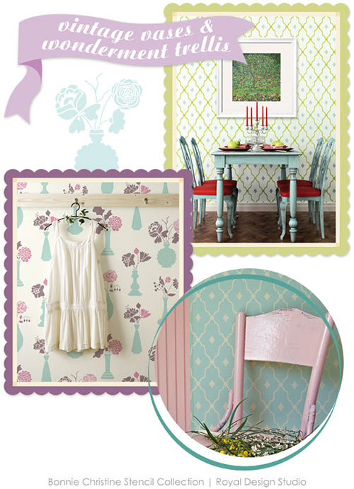 Lovely floral and trellis stencils. New wall stencils by Bonnie Christine for Royal Design Studio