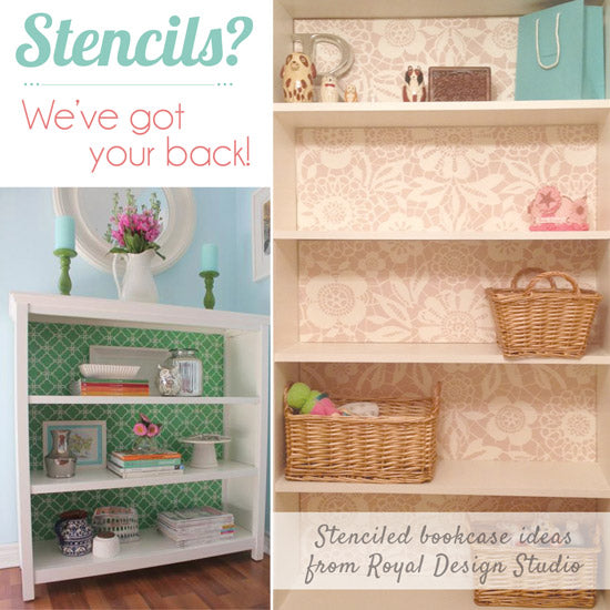 Stenciled Bookcase Ideas