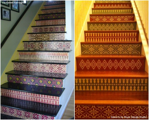 The Hottest Home Décor Trend: Stenciled Stairs - 14 DIY Ideas using Royal Design Studio Stencils