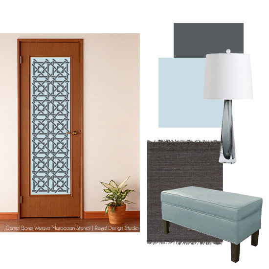 Benjamin Moore's A Breath of Fresh Air paint color is light and perfect for a stenciled clean and breezy entry way.