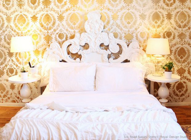 Gold Wallpaper Wall Stencils - DIY Ideas for Metallic Home Decor ...