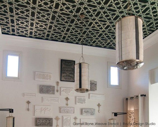 Camel Bone Weave Moroccan Ceiling Stencil from Royal Design Studio