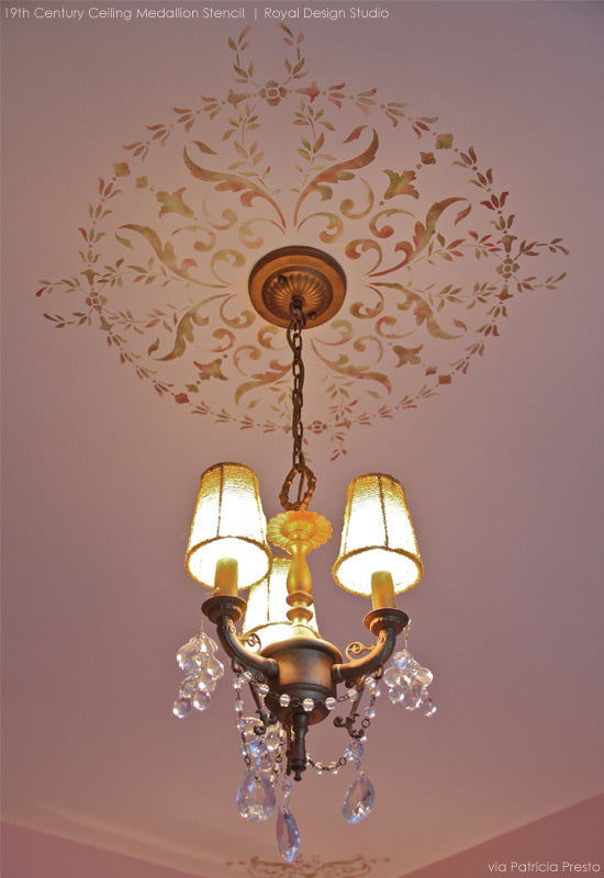 Ceiling Medallion Stencil Around Light Fixture