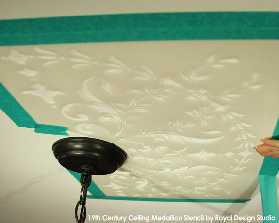 Prepping a stencil for a ceiling | 19th Century Medallion Stencil by Royal Design Studio