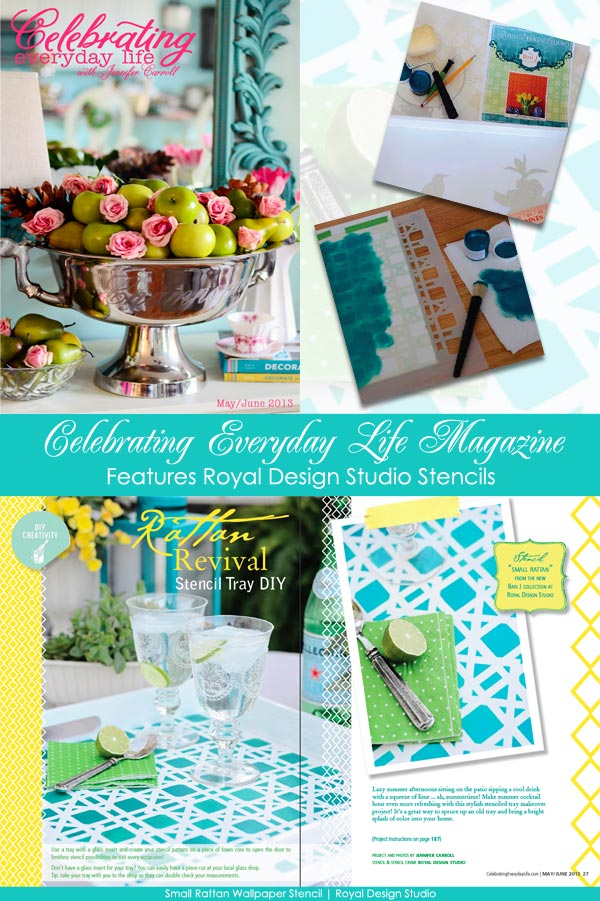 Royal Design Studio Stencils featured in Celebrating Everyday Life with Jennifer Carroll magazine