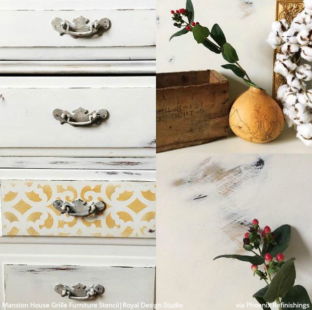 Shabby Chic Farmhouse Style Furniture - DIY Ideas using Royal Design Studio Furniture Painting Stencils - Rustic and Reclaimed Home Decor Hacks