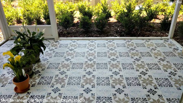 come on in welcome guests with a stenciled porch or patio floor diy home - Patio Flooring