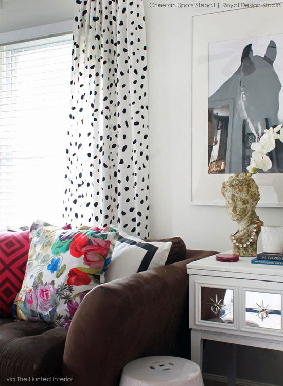 Cheetah Spots Stenciled Drapes | Royal Design Studio