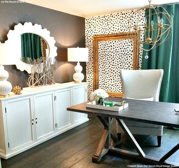 Trendy Office Makeover Idea: Cheetah Spots Wall Stencils from Royal Design Studio