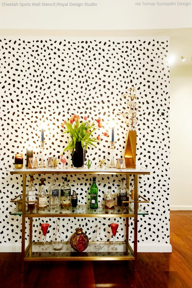 Cheetah-licious Room Makeovers with Cheetah Print Wall Stencils from Royal Design Studio - Animal Print Wallpaper Design Stencils for Painting - Modern Bohemian Decor Ideas
