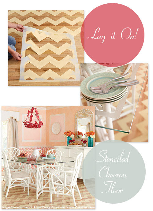 Stencil a Chevron Floor pattern on a wood floor as featured in Lowes Creative Ideas