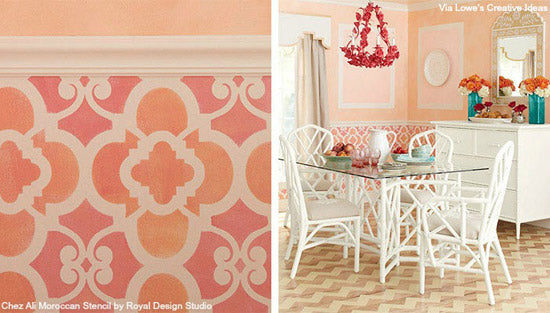 Kitchen stenciling ideas with the Chez Ali Moroccan Stencil from Royal Design Studio