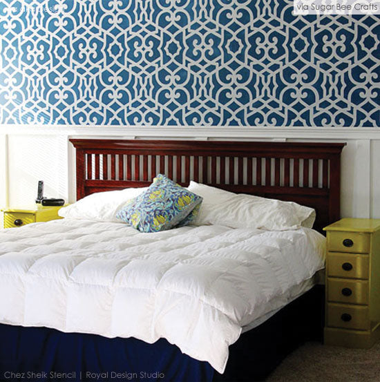 Updated Guest Room with Stencil Patterns from Royal Design Studio